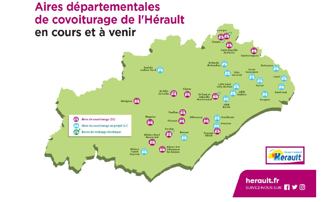 aires départementales de covoiturage de l'Hérault